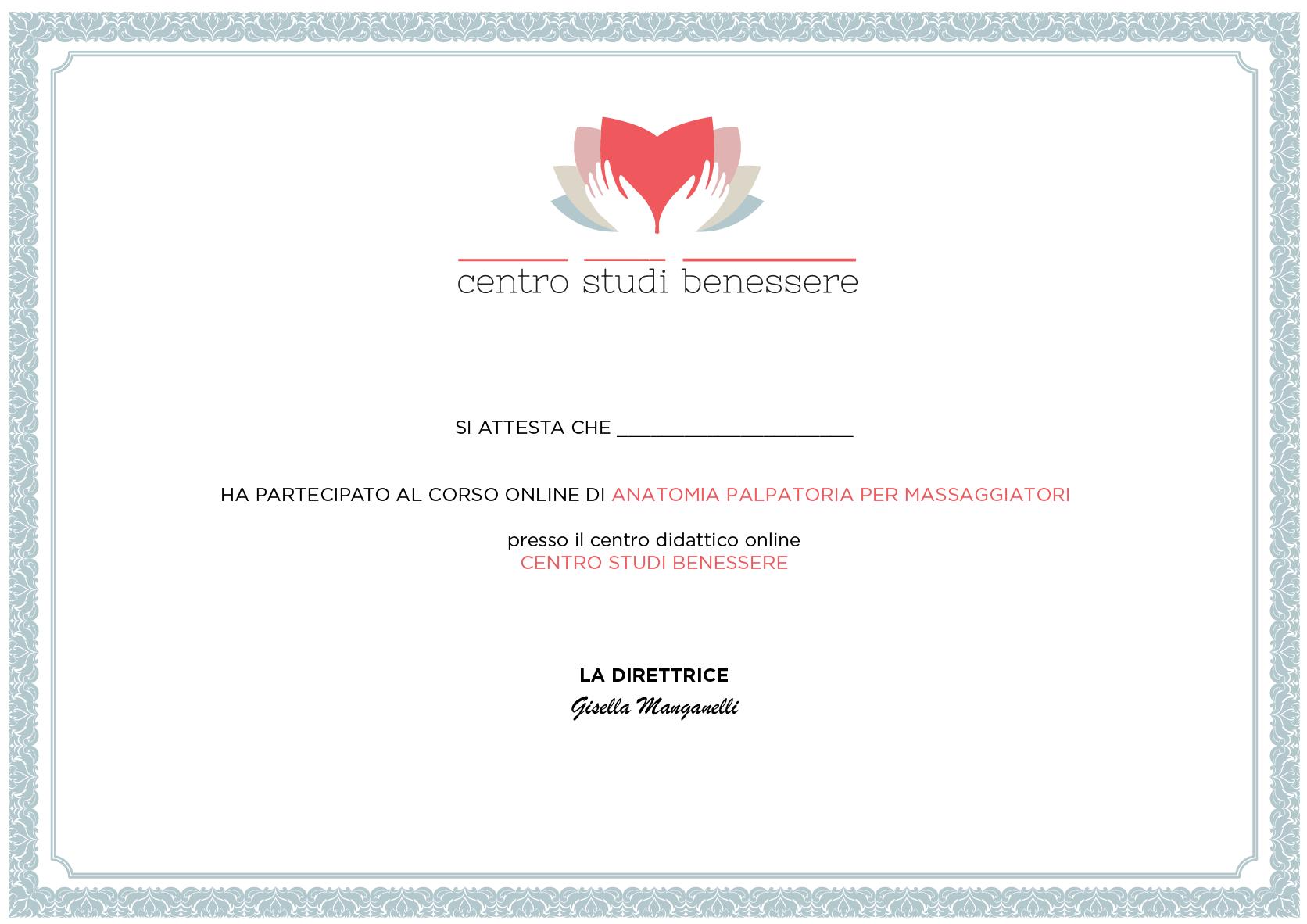 Attestato Corso Anatomia Palpatoria per Massaggiatori